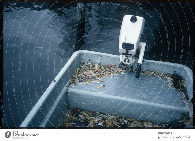 Antrieb Technik & Technologie Umwelt Wasser Herbst schlechtes Wetter Binnenschifffahrt Bootsfahrt Ruderboot hängen trashig trist Bewegung Freude sparsam Kraft