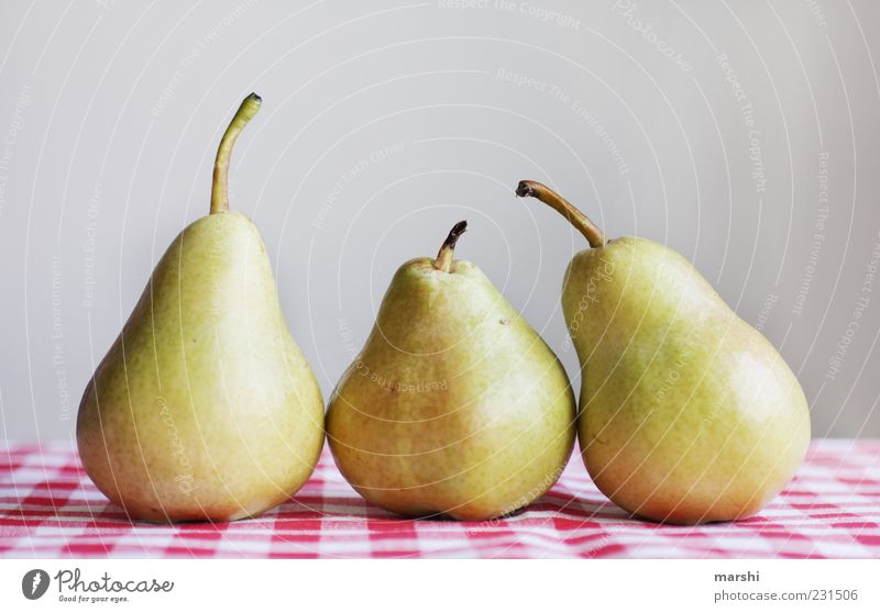 Birnenstillleben Gesundheit Frucht Ernährung Lebensmittel Gesunde Ernährung lecker Stillleben Bioprodukte kariert Tischwäsche Vegetarische Ernährung