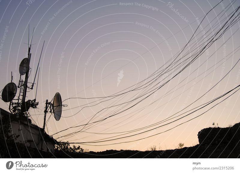 Voll vernetzt Himmel Stadt Kommunizieren Technik & Technologie Telekommunikation Zukunft Elektrizität Kabel Netzwerk Internet Kontakt Informationstechnologie
