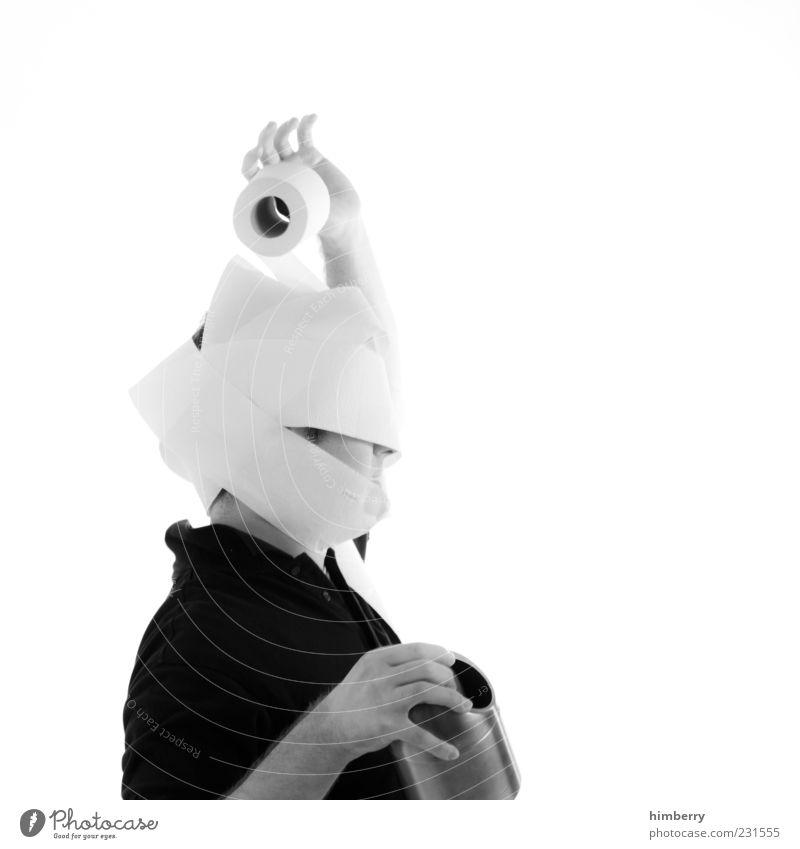 choreografie Mensch maskulin Mann Erwachsene Leben Kopf 1 außergewöhnlich einzigartig lustig Originalität chaotisch Toilettenpapier Schwarzweißfoto