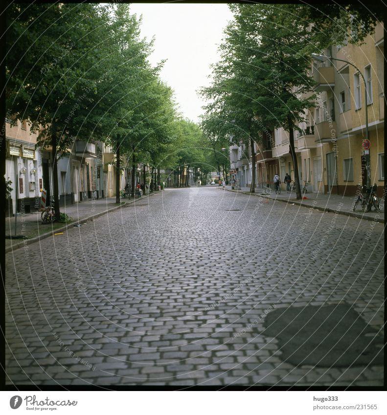 Berlin XIII Neukölln Stadt Hauptstadt Verkehrswege Straßenverkehr Fußgänger gelb grün Pflastersteine Baum frei Himmel Farbfoto Außenaufnahme Licht Schatten