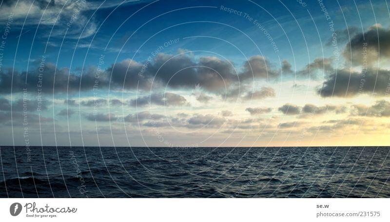 Abendhimmel blau Ferien & Urlaub & Reisen Meer Sommer ruhig gelb Erholung Gefühle Horizont Unendlichkeit Sehnsucht Schönes Wetter Lebensfreude Fernweh