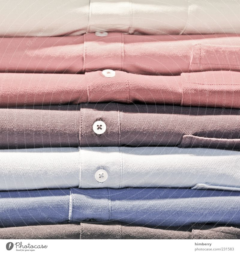ha & em Hemd Stoff neu schön blau braun mehrfarbig grau Handel Ware Farbenspiel Baumwolle Knöpfe Kurzwaren Farbfoto Innenaufnahme Detailaufnahme Stapel Ordnung