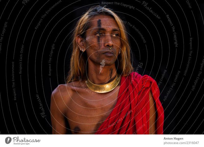 Tamilischer Tiger Mensch androgyn Kopf 1 30-45 Jahre Erwachsene Accessoire Schmuck Fliege langhaarig Ehre selbstbewußt Willensstärke Leidenschaft Tamilen Inder