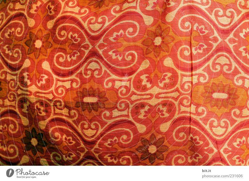 Stoffmuster schön rot braun Dekoration & Verzierung Vorhang Textilien Tuch Ornament Sichtschutz Leinen gewebt Leinentuch