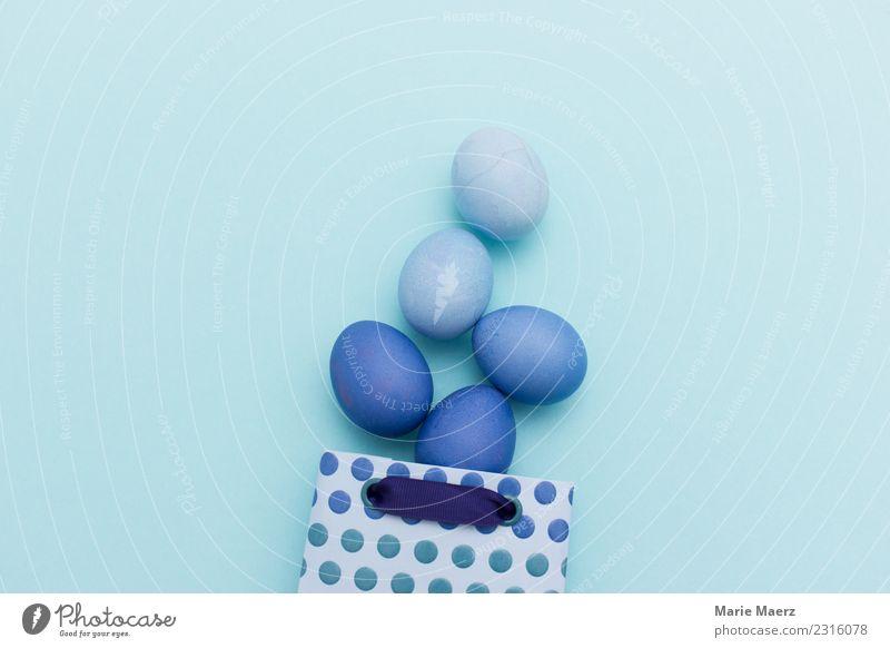 Geschenktüte mit blauen Ostereiern schön Farbe Freude Stil Feste & Feiern kaufen Ostern Vorfreude schenken Ei färben