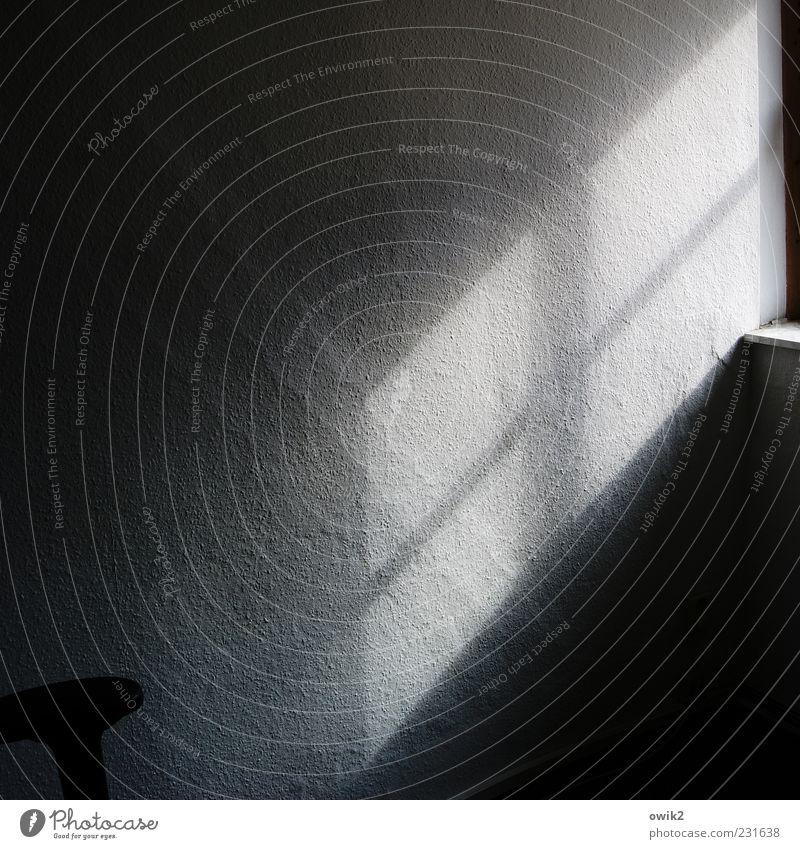 Blaupause blau weiß Sonne ruhig schwarz Fenster Wand Mauer grau Hintergrundbild Wohnung einfach Vergänglichkeit Wandel & Veränderung Textfreiraum Hoffnung