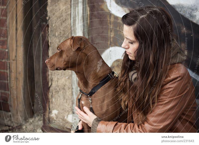 zwei feminin Junge Frau Jugendliche Erwachsene 1 Mensch 18-30 Jahre brünett langhaarig Tier Haustier Hund festhalten Umarmen braun Gassi gehen Farbfoto