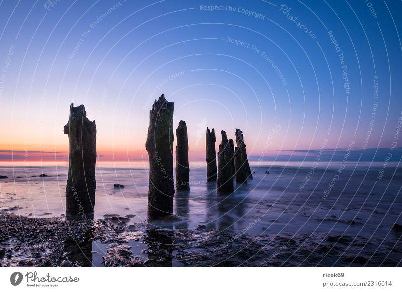 Buhnen an der Küste der Ostsee bei Kühlungsborn Erholung Ferien & Urlaub & Reisen Tourismus Strand Meer Wellen Natur Landschaft Wasser Wolken Holz Romantik