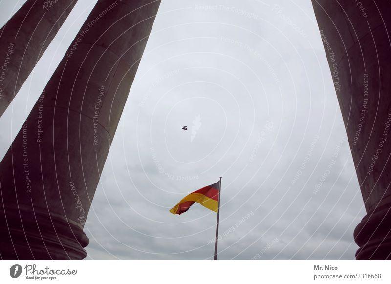 Einheitsvogel Hauptstadt Bauwerk Gebäude Architektur Sehenswürdigkeit Wahrzeichen Denkmal Deutscher Bundestag Vogel Zeichen gelb gold rot schwarz Fahne