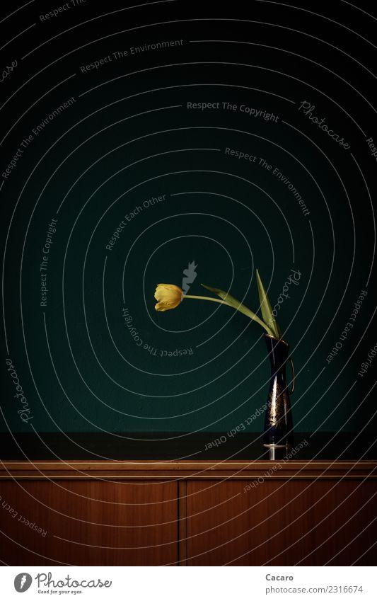 ein Tulpenleben Stil Häusliches Leben Innenarchitektur Dekoration & Verzierung Pflanze Blume Blüte Kitsch Krimskrams ästhetisch elegant glänzend retro gelb grün