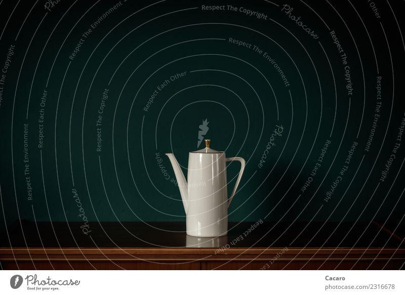 weiße Kanne Wohnung Dekoration & Verzierung Kannen Kaffeekanne Nostalgie rein einfach goldrand dunkelgrün Design Farbfoto Innenaufnahme Menschenleer