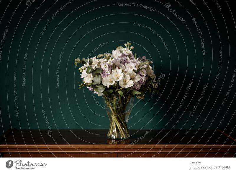 Blumenstrauß Wohnung einrichten Dekoration & Verzierung Wohnzimmer Valentinstag Muttertag Hochzeit Geburtstag Pflanze einfach braun grün violett weiß Romantik