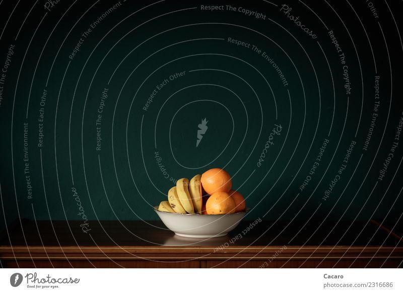 Obstschale Lebensmittel Frucht Orange Banane Ernährung Schalen & Schüsseln einfach exotisch Gesundheit lecker retro süß braun gelb grün weiß Ordnungsliebe