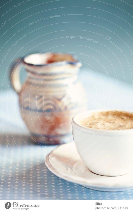 Guten Morgen blau hell Kaffee Tasse lecker Stillleben altehrwürdig Kannen gepunktet Lebensmittel Keramik Milchkaffee Untertasse Heißgetränk