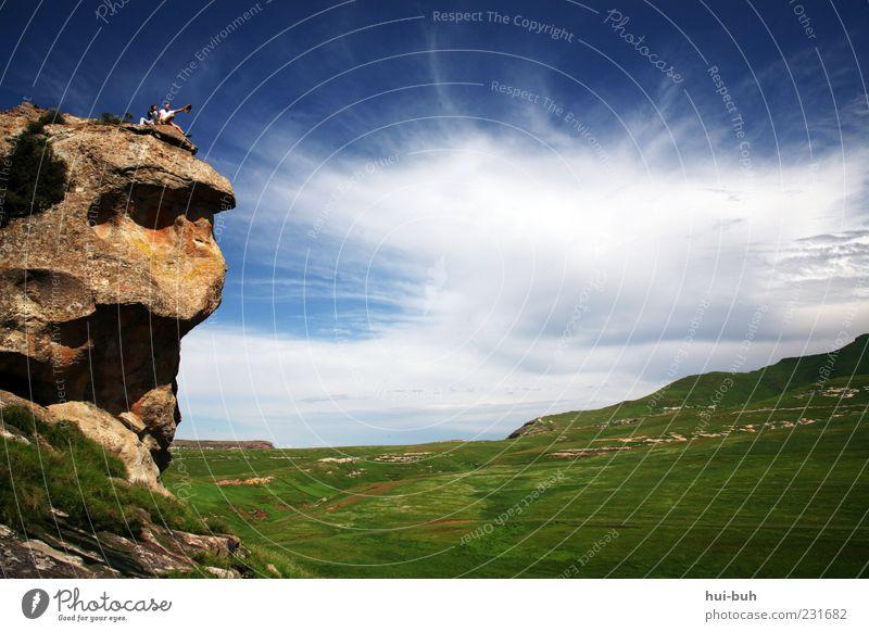 """""""Und wie ist das große, weite Meer?"""" """"Mhmm.. Groß?! Weit?!"""" Mensch Himmel Natur Ferien & Urlaub & Reisen Sommer Wolken Ferne Umwelt Berge u. Gebirge Freiheit Stein Felsen Wetter sitzen Ausflug Gipfel"""