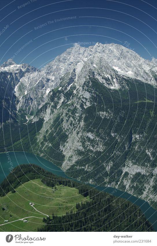 Watzmann + Königssee Himmel blau Wasser grün weiß Sommer Landschaft Berge u. Gebirge grau Erde Felsen außergewöhnlich Reisefotografie Urelemente Alpen Gipfel