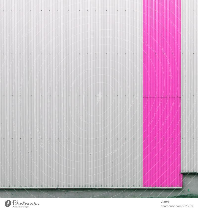 Wellblech super Farbe Wand Architektur grau Mauer Metall Linie rosa Fassade Ordnung modern frisch ästhetisch authentisch trist Streifen