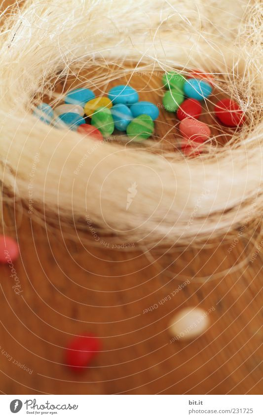 Nest Lebensmittel Süßwaren Feste & Feiern Ostern mehrfarbig Osterei Osternest Holz Holztisch Holzfußboden Holzbrett Zuckerguß Zuckerperlen Stroh Heu winzig