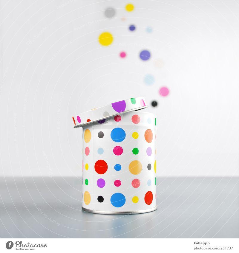 öffnungszeit Metall offen fliegen Lifestyle Kreis Punkt Idee blasen Bewegung Dose Verpackung mehrfarbig Gully Öffnung Büchse Inhalt