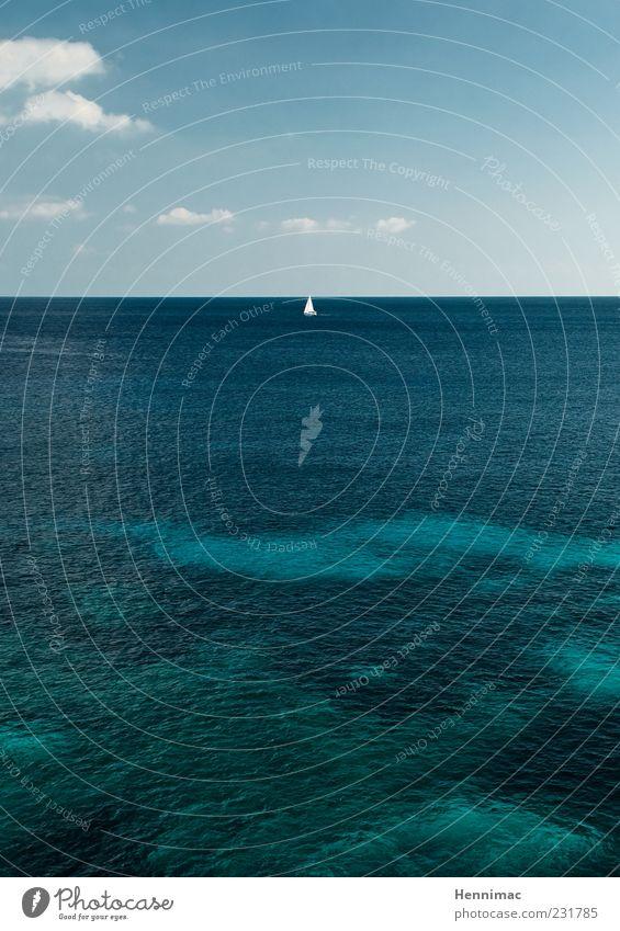 Peilung auf Sommer! blau Wasser grün Ferien & Urlaub & Reisen Meer ruhig Ferne Erholung Umwelt Freiheit Wasserfahrzeug Horizont Tourismus Unendlichkeit