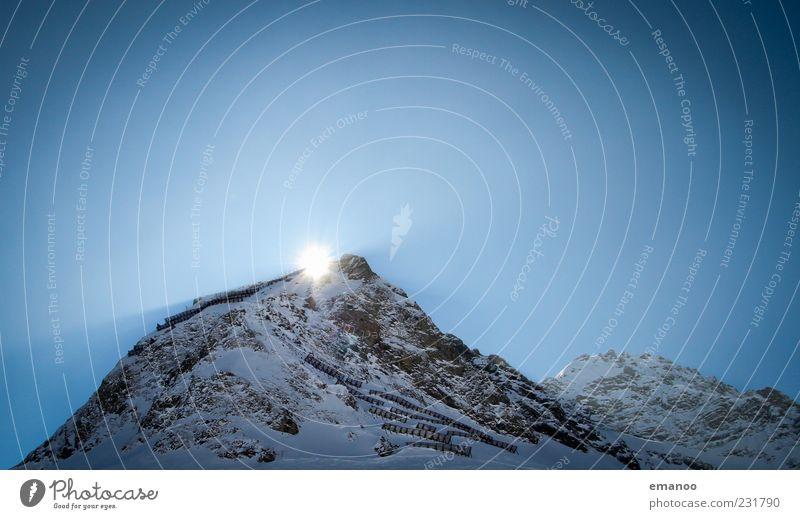 sunset mountain Himmel Natur blau Ferien & Urlaub & Reisen Winter kalt dunkel Schnee Landschaft Berge u. Gebirge Felsen Ausflug hoch Tourismus Alpen Gipfel