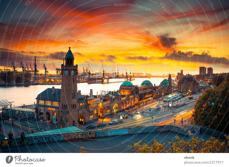Sonnenuntergang in Hamburg Stadt Hafenstadt Stadtzentrum Skyline Bauwerk Gebäude Architektur Ferien & Urlaub & Reisen Großstadt Cityscape Niedersachsen Farbfoto