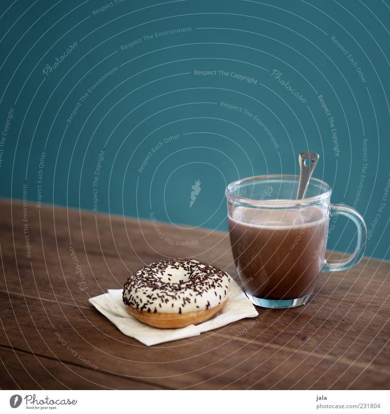 kleines frühstück Ernährung Lebensmittel Glas Getränk süß Tasse Appetit & Hunger Frühstück lecker Lust Backwaren Teigwaren Löffel Maserung Krapfen