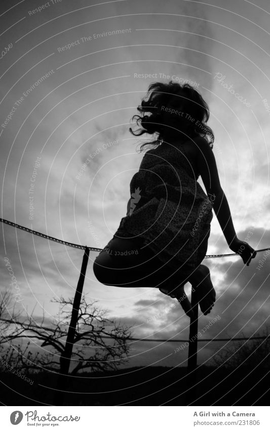 bounce Fitness Sport-Training Sportler springen feminin Kind Junge Frau Jugendliche Kindheit Leben 1 Mensch 13-18 Jahre Bewegung fliegen genießen sportlich