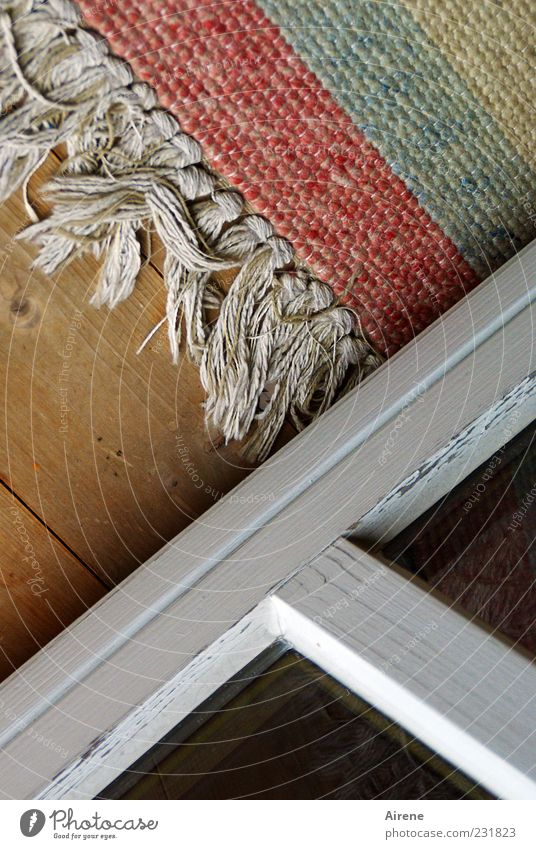 Dreiecksbeziehung alt blau weiß Fenster Holz grau braun Raum Wohnung rosa Ordnung Bodenbelag trist Häusliches Leben schäbig Fensterscheibe