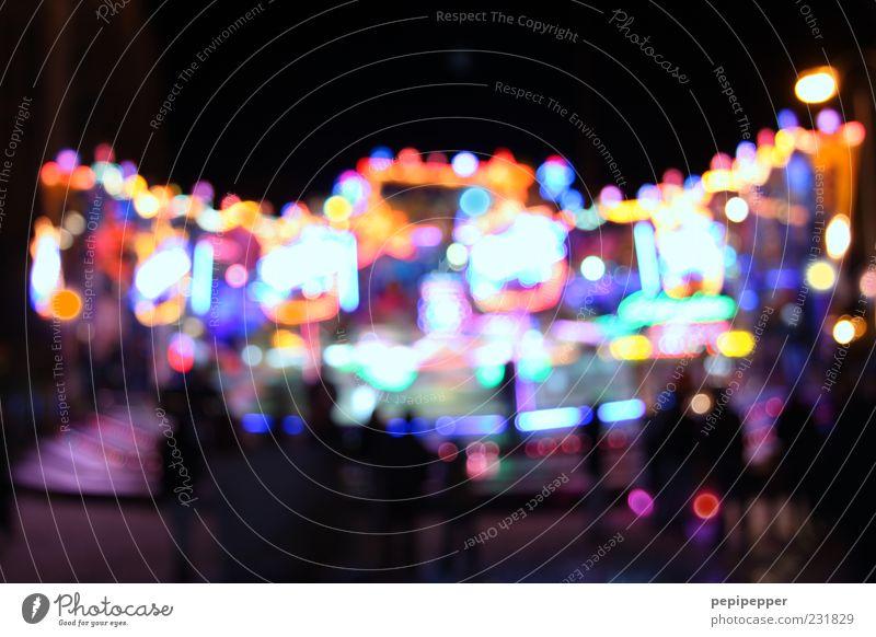 funny lights Freude Farbe Bewegung Beleuchtung Hintergrundbild glänzend leuchten Zeichen Kugel Jahrmarkt Veranstaltung Nacht Textfreiraum Nachtleben Lichtpunkt Fahrgeschäfte