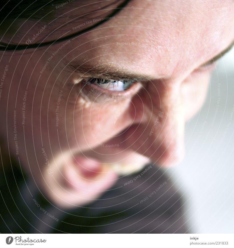 NEIN heißt NEIN! Leben Gesicht 1 Mensch kämpfen Kommunizieren machen Blick schreien Konflikt & Streit toben Aggression bedrohlich wild Wut Gefühle Stimmung