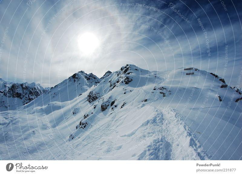 der himmel is das ziel Himmel Natur blau schön Sonne Winter Landschaft Ferne Berge u. Gebirge Schnee Freiheit Felsen Tourismus Schönes Wetter Ausflug Alpen