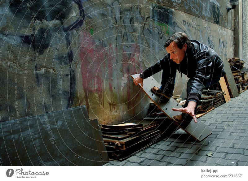 sleep and fade away Mensch Mann Haus Erwachsene Graffiti Bewegung träumen Fassade maskulin Aktion Lifestyle Müll Skateboarding Idee Gleichgewicht