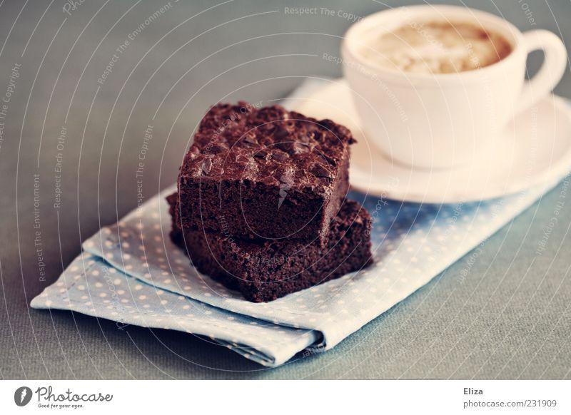 nomnomnom süß Kaffee Teile u. Stücke Kuchen Tasse Frühstück lecker Schokolade Backwaren Dessert Teigwaren altehrwürdig gepunktet Serviette Süßwaren Mahlzeit