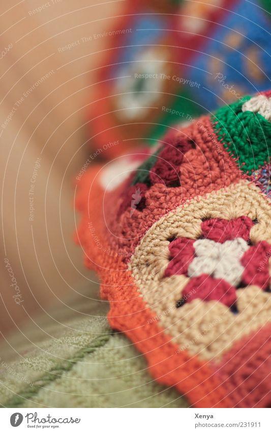 Omas Liebling Handarbeit Sessel Wolle Decke braun grün Geborgenheit Nostalgie Siebziger Jahre Gedeckte Farben Innenaufnahme Detailaufnahme Menschenleer Tag