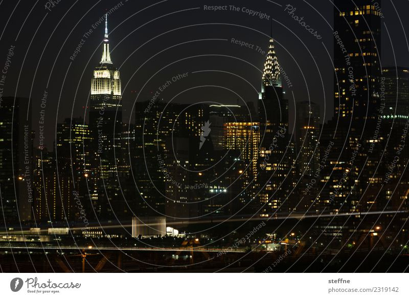 NYC16 New York City Skyline USA Hochhaus Stadt Manhattan Brooklyn Nacht Empire State Building Chrysler Building