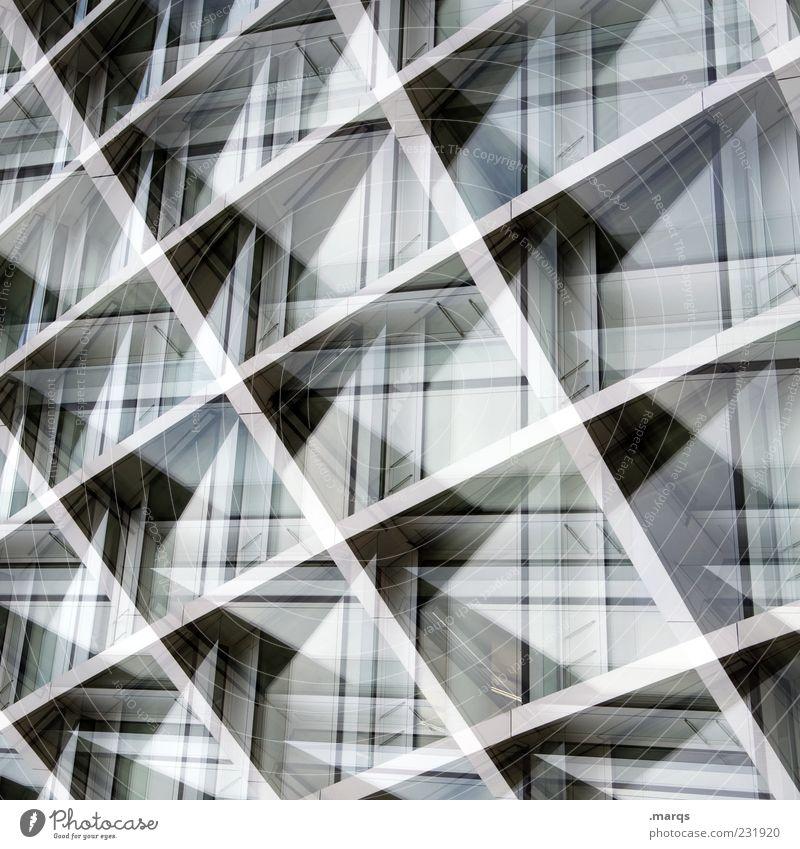 Kreuz|Quer Stil Design Fassade Metall Linie Streifen außergewöhnlich eckig modern Perspektive Hintergrundbild Dynamik Doppelbelichtung Nahaufnahme abstrakt