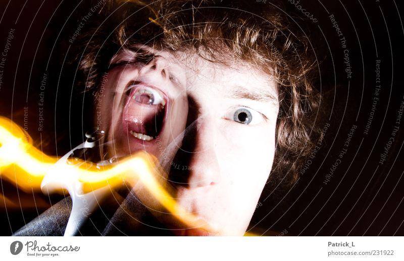 no way out Mensch Jugendliche schwarz Erwachsene Auge Kopf Haare & Frisuren Angst Mund maskulin verrückt 18-30 Jahre Zähne schreien durcheinander
