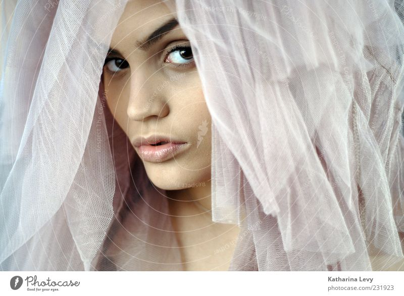 Tochter der Nacht Reichtum elegant schön Haut Kosmetik Mensch feminin Frau Erwachsene Gesicht 1 18-30 Jahre Jugendliche Tüll Schleier hell rosa Vertrauen