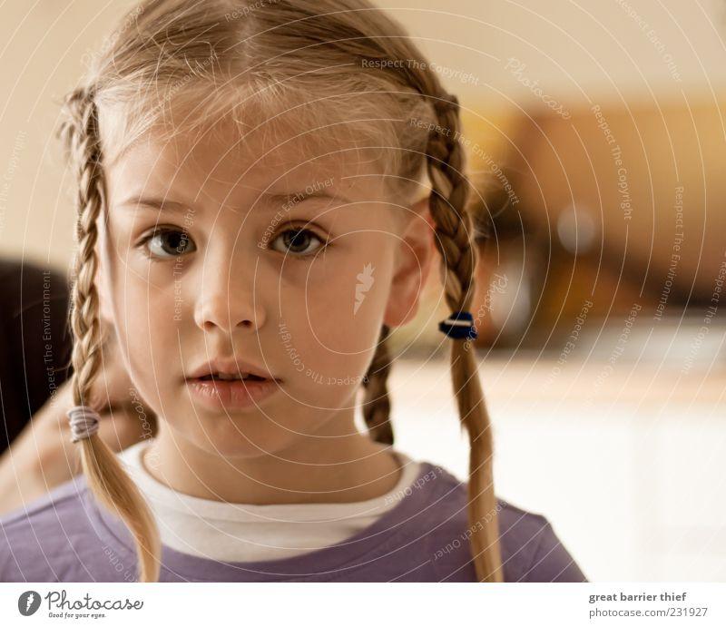 Kind Mädchen Zöpfe Augen Mensch Kind Mädchen Auge Kopf Haare & Frisuren Kindheit blond warten Neugier violett Gesichtsausdruck Zopf 3-8 Jahre geflochten Gesicht