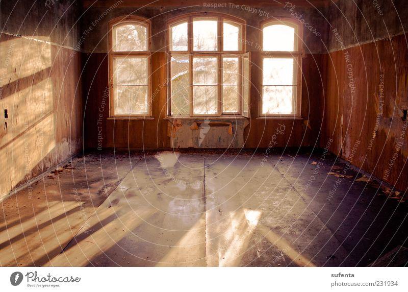 Lichtspiel Ruine Fenster kaputt rot Stimmung Frühlingsgefühle Warmherzigkeit Sonnenlicht Schatten Wärme weich Unbewohnt Einsamkeit Farbfoto Innenaufnahme