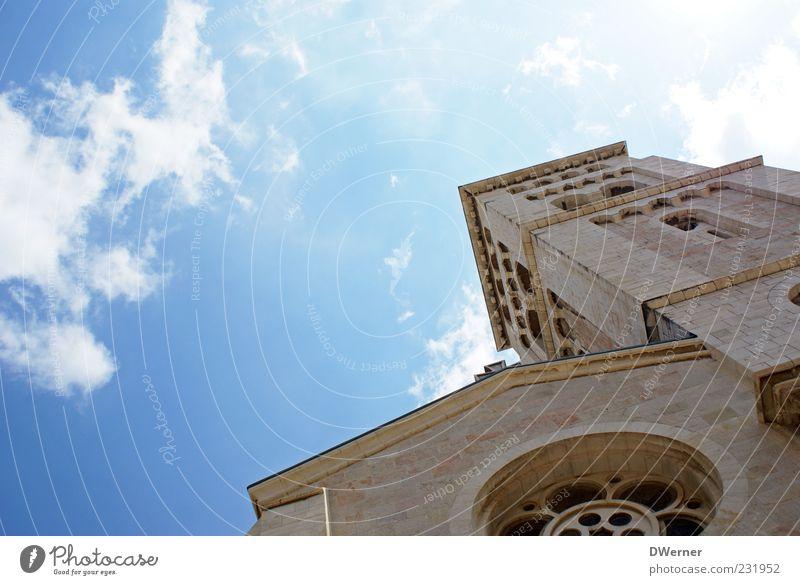 Erlöserkirche Jerusalem Himmel Schönes Wetter Kirche Dom Mauer Wand Fassade Fenster Stein blau Tradition Glaube Christentum Farbfoto Außenaufnahme
