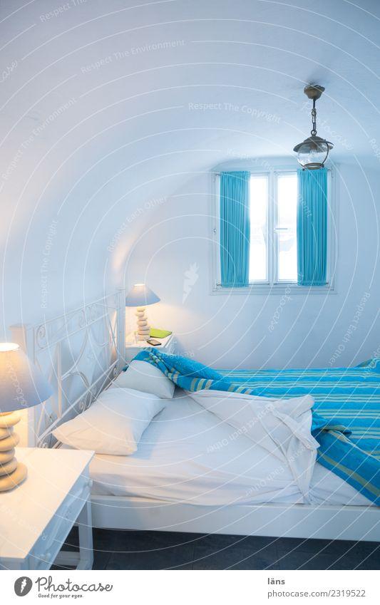 Schlafzimmer Ferien & Urlaub & Reisen Tourismus Häusliches Leben Wohnung Haus Bett Erholung einfach türkis weiß Erwartung Farbfoto Innenaufnahme Menschenleer