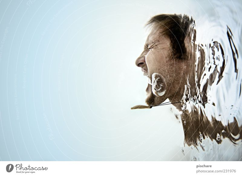 Scream/Blubb Mann blau Wasser Erwachsene Gefühle Kopf blond maskulin außergewöhnlich bedrohlich tauchen Wut Bart schreien skurril Unterwasseraufnahme