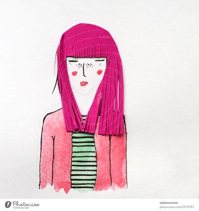 Pink hair Haare & Frisuren Freizeit & Hobby Basteln Karneval feminin Junge Frau Jugendliche Erwachsene 1 Mensch langhaarig Perücke Papier