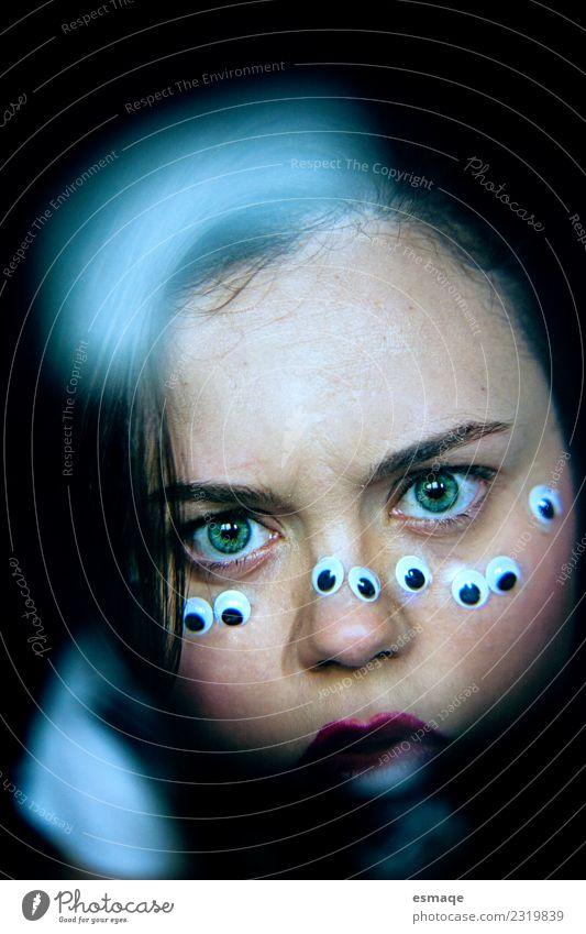 Porträt einer Person mit vielen Augen Mensch Frau Erwachsene 1 Ehre Tapferkeit selbstbewußt Vorsicht Ungerechtigkeit dumm bequem ignorant Hemmungslosigkeit