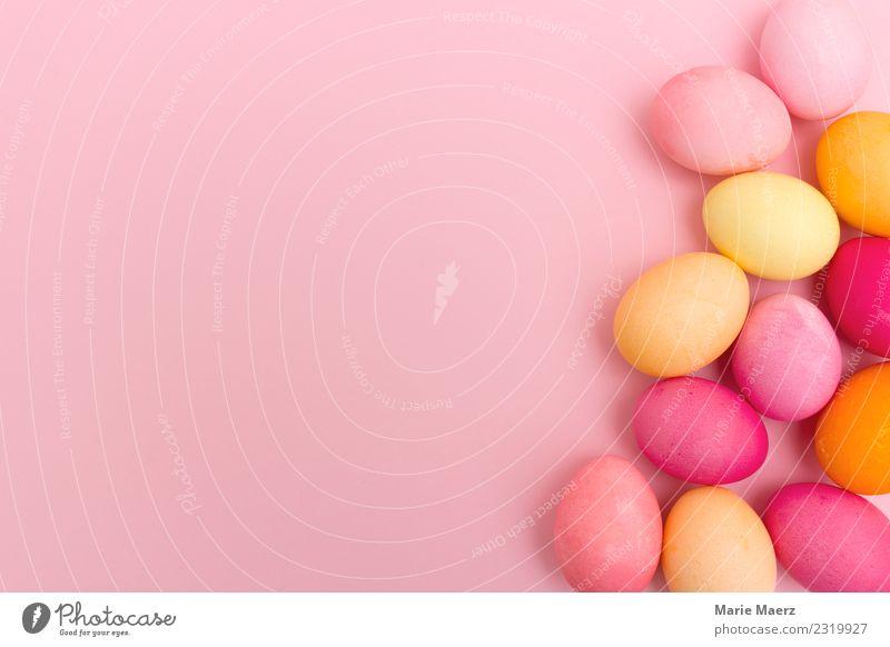 Rosa Hintergrund mit bunten Ostereiern Ostern Essen Feste & Feiern liegen ästhetisch Fröhlichkeit lecker Wärme mehrfarbig Frühlingsgefühle Freizeit & Hobby