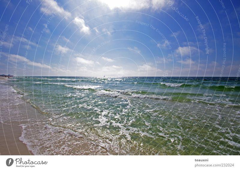 Natur Wasser schön Himmel Sonne Meer grün blau Sommer Strand Ferien & Urlaub & Reisen Wolken Sand Landschaft Luft Küste
