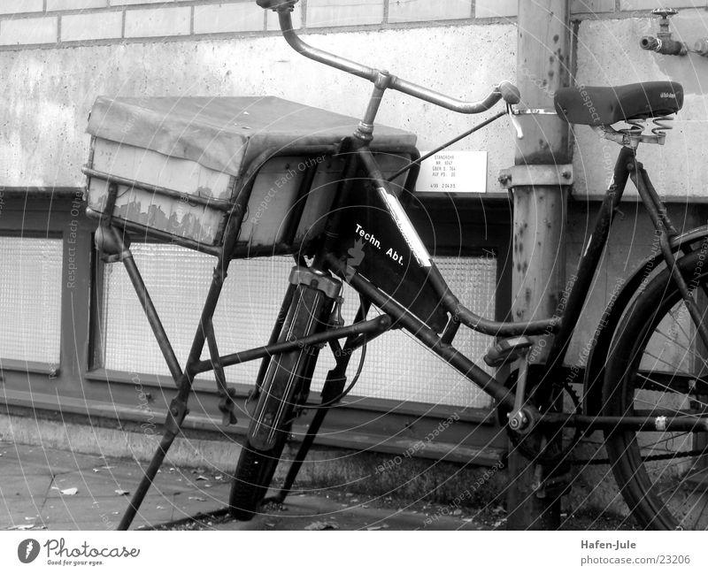 Fahrradkurier Wand aufbocken Freizeit & Hobby alt Schwarzweißfoto Güterverkehr & Logistik